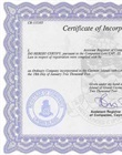 Certified copy of certificate of incorporation